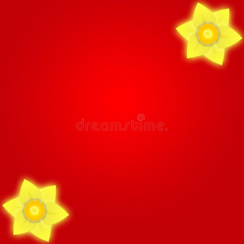 De Rode Achtergrond Van De Gele Narcis Stock Afbeelding