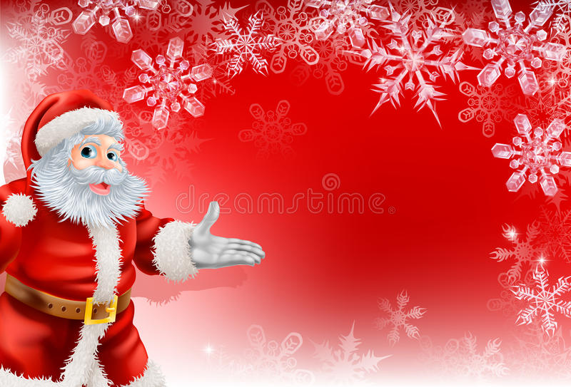 De rode achtergrond van de Sneeuwvlok van Kerstmis van de Kerstman vector illustratie