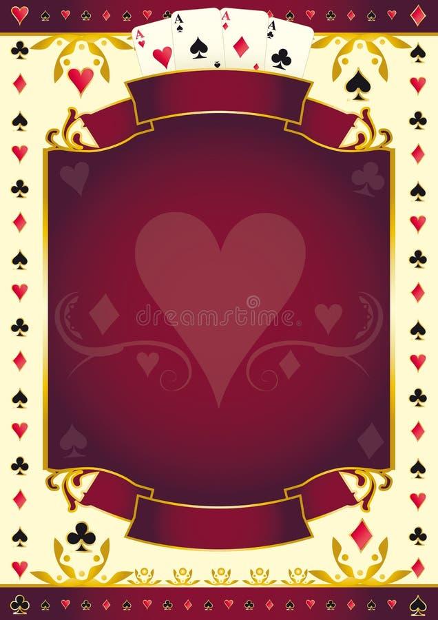De rode achtergrond van het Pokergamehart royalty-vrije illustratie