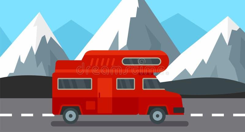De rode achtergrond van de kampvrachtwagen, vlakke stijl royalty-vrije illustratie