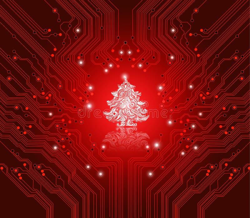 De rode achtergrond van Kerstmis - creatieve technologie royalty-vrije illustratie