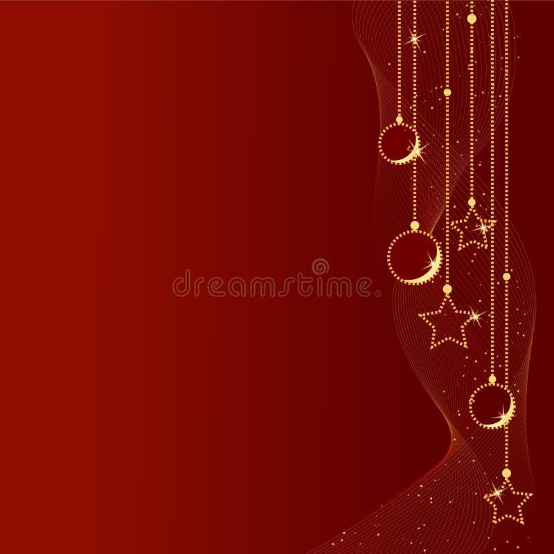 De rode achtergrond van Kerstmis met de ballen van Kerstmis en stock illustratie