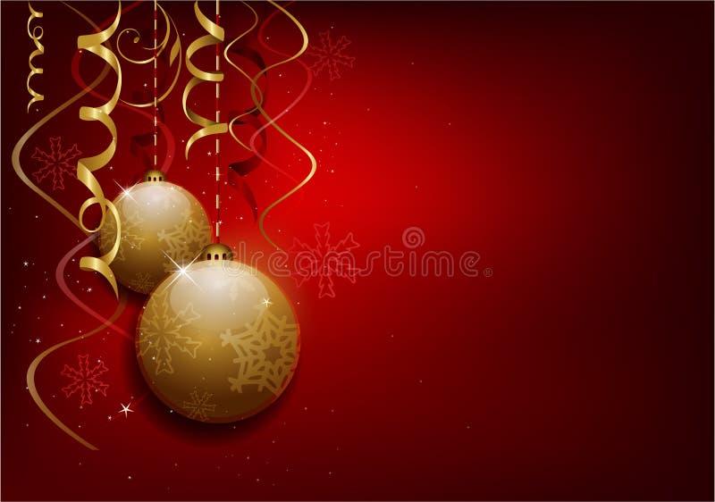 De rode achtergrond van Kerstmisballen vector illustratie
