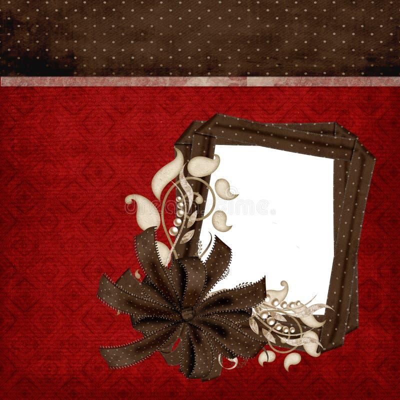 De rode & Bruine Elegante Pagina van het Plakboek vector illustratie