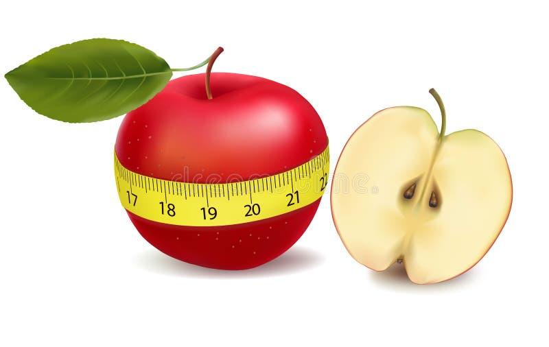 De rode appel mat de meter, sportenappel. Vector vector illustratie
