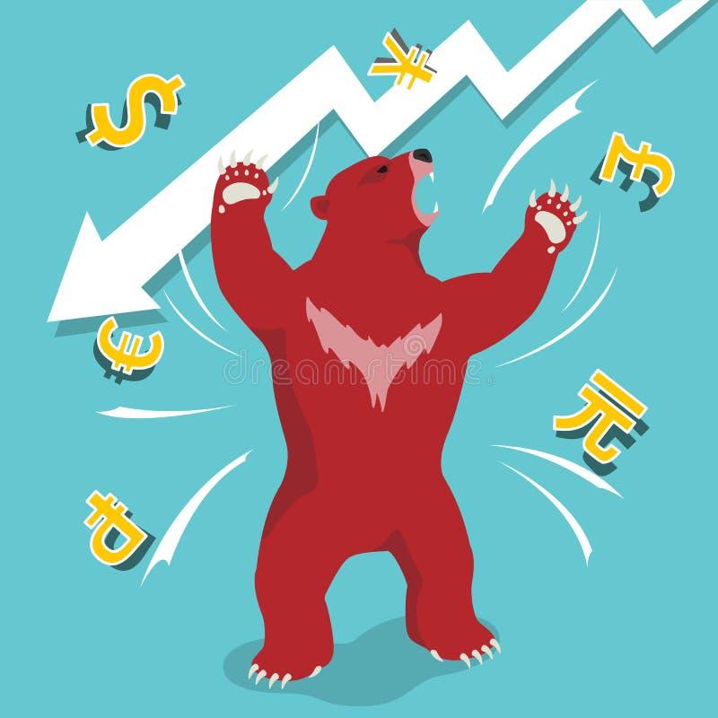 De rode baissemarkt stelt het concept van de neerwaartse trendeffectenbeurs voor vector illustratie