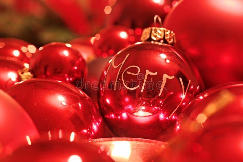 De rode Ballen van Kerstmis stock fotografie