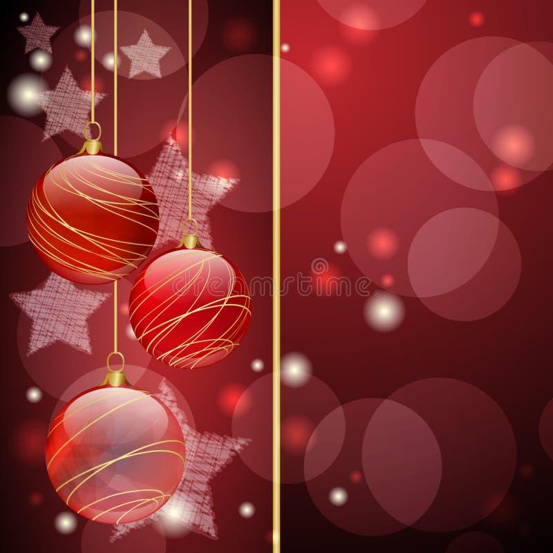 De rode ballen van Kerstmis stock illustratie