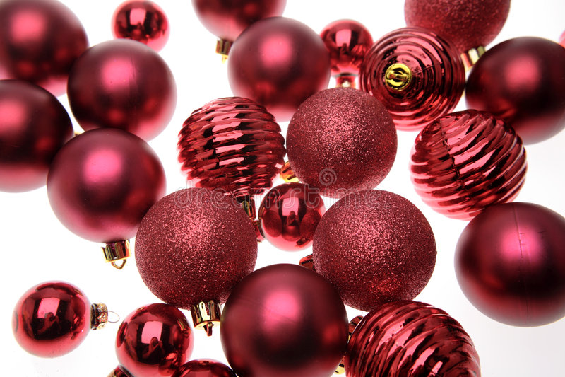 De rode ballen van Kerstmis stock foto's