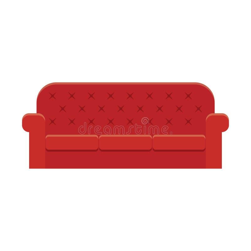 De rode bank van de leerluxe royalty-vrije illustratie