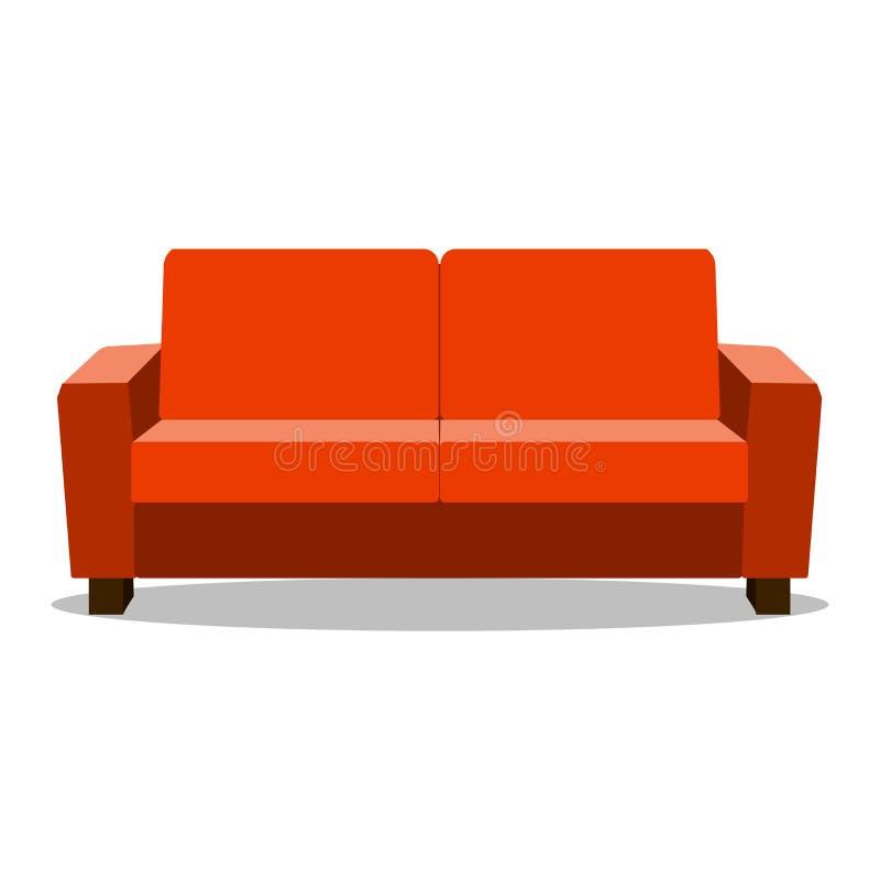 De rode bank van de leerluxe voor moderne woonkamerontvangst of zitkamer enige objecten realistische ontwerp vectorillustratie stock illustratie