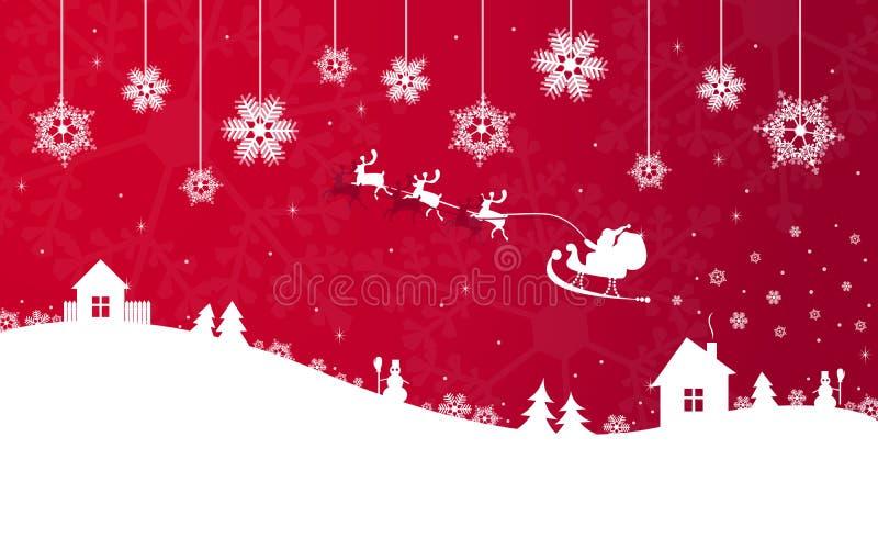 De rode banner van Kerstmis met de Kerstman royalty-vrije illustratie