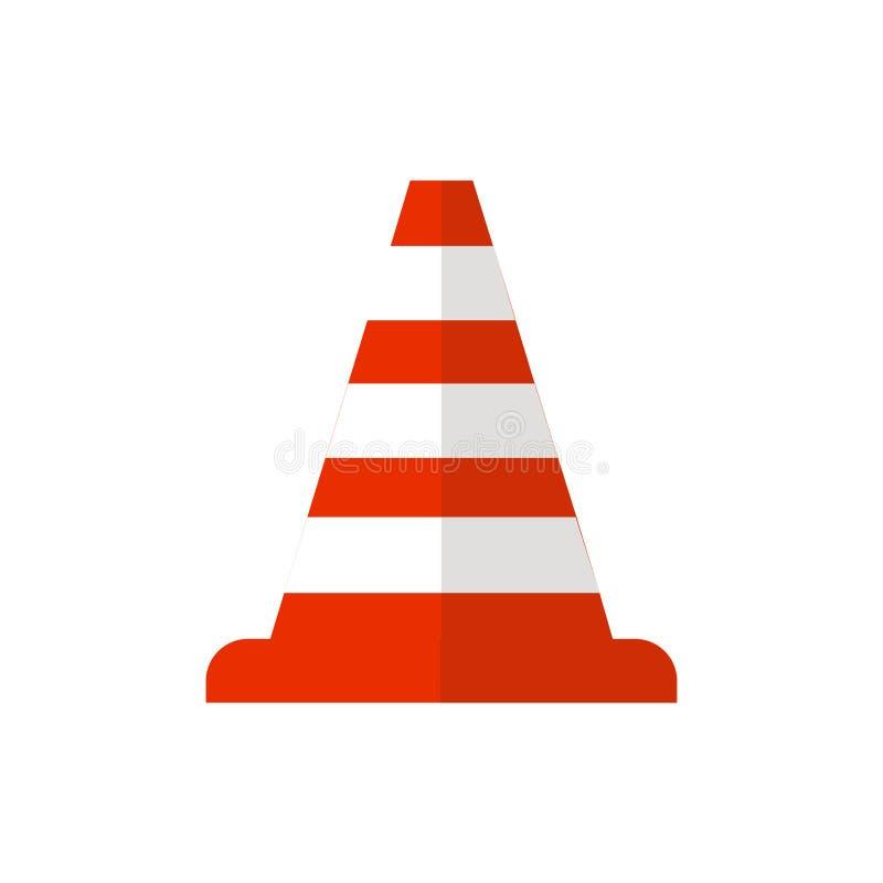 De rode barrière van de wegkegel en van de het verkeerskegel van de straatwaarschuwing het vlakke pictogram Bouw van rode wegkege stock illustratie