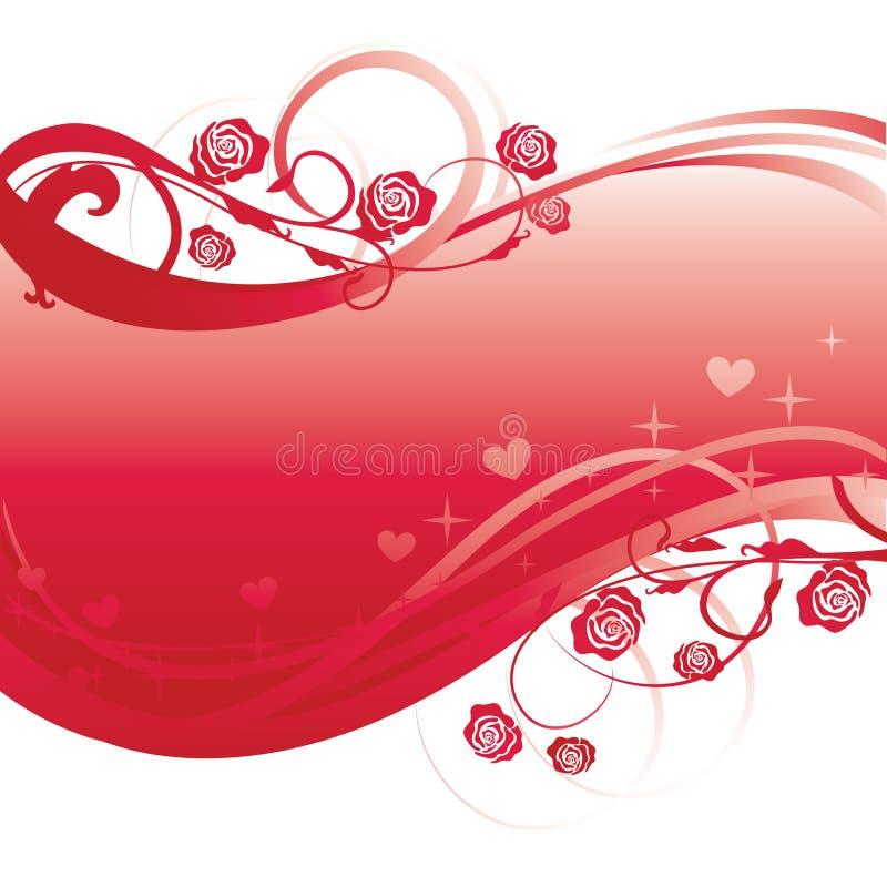 De rode bloemenbanner van krullen royalty-vrije illustratie