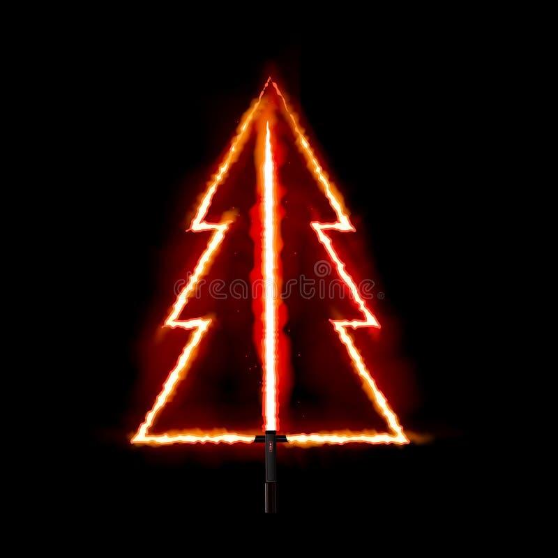 De rode brand gloeiende Kerstboom Vector illustratie royalty-vrije illustratie