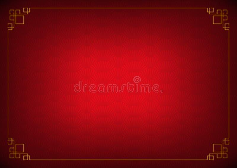 De rode Chinese abstracte achtergrond van de schaduwventilator met gele grens stock illustratie