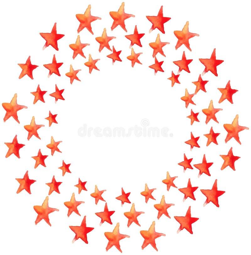 De rode cirkel van waterverfsterren stock illustratie