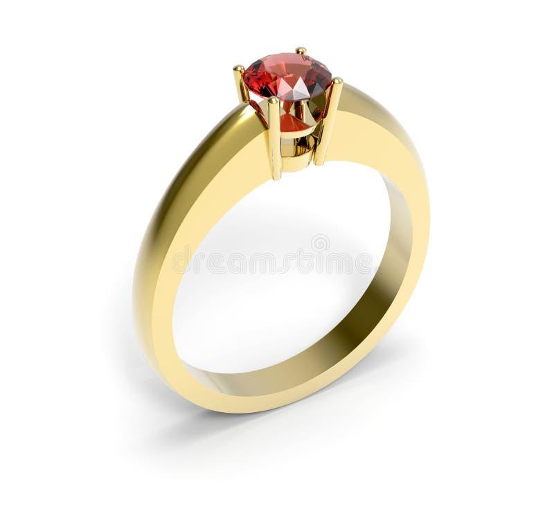 De rode close-up van de kiezelsteen gouden ring stock fotografie