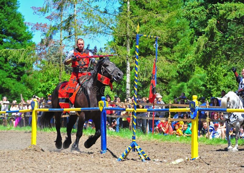 De rode concurrentie van de ridderring stock fotografie