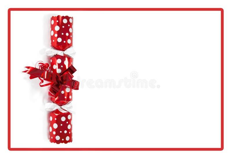 De rode cracker van Kerstmis stock afbeelding