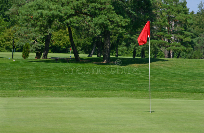 De Rode Cursus Van Het Golf Van De Vlag Stock Fotografie
