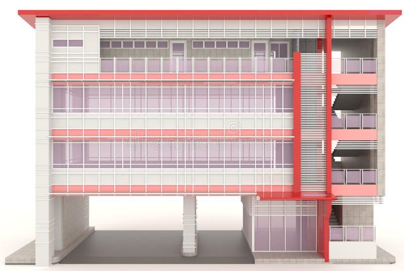 De rode 3D moderne bureaubouw buiten in wit stock illustratie