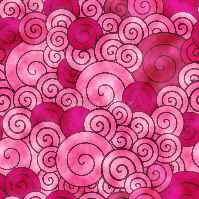 De rode decoratieve spiralen watercolored achtergrondpatroon royalty-vrije illustratie