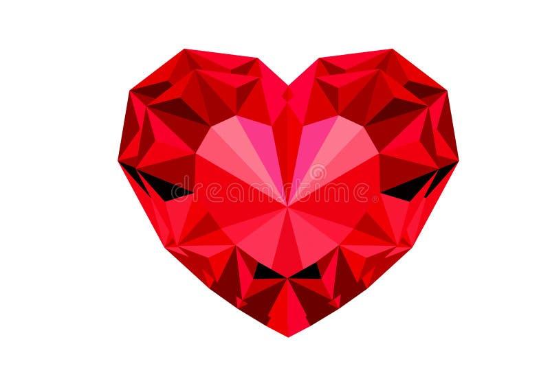 De rode die juwelen van het diamanthart op witte achtergrond worden geïsoleerd - illustratieontwerp royalty-vrije illustratie