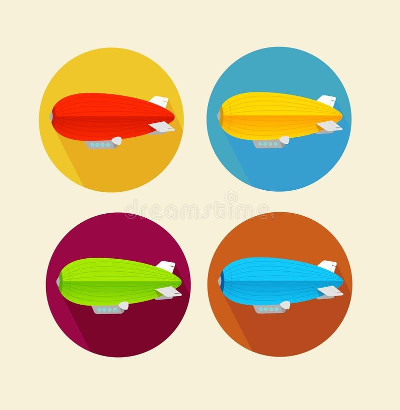 De rode dirigible reeks van het ballon vlakke pictogram Vector vector illustratie
