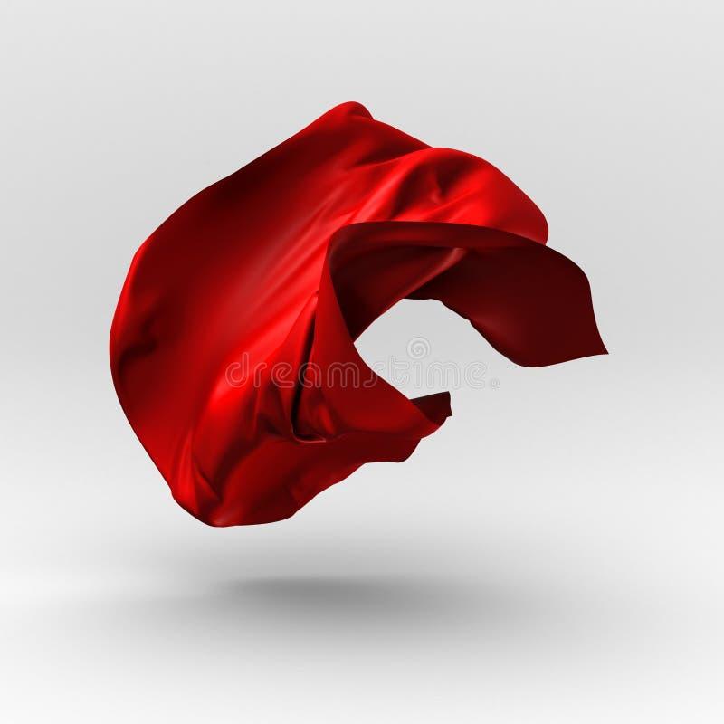 De rode doek van de luxe vliegende zijde Het element van het ontwerp royalty-vrije illustratie