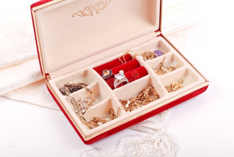 De rode Doos van de Juwelen van het Fluweel royalty-vrije stock fotografie