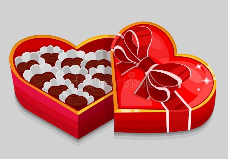 De rode doos van het hartsuikergoed royalty-vrije illustratie