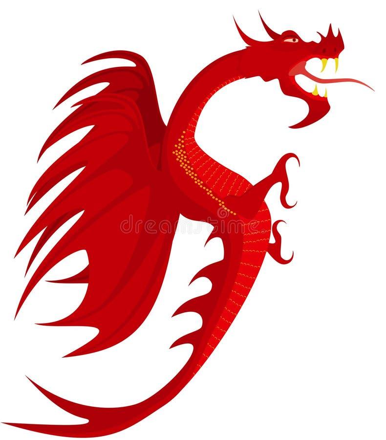 De rode draak van de wapenkunde. stock illustratie