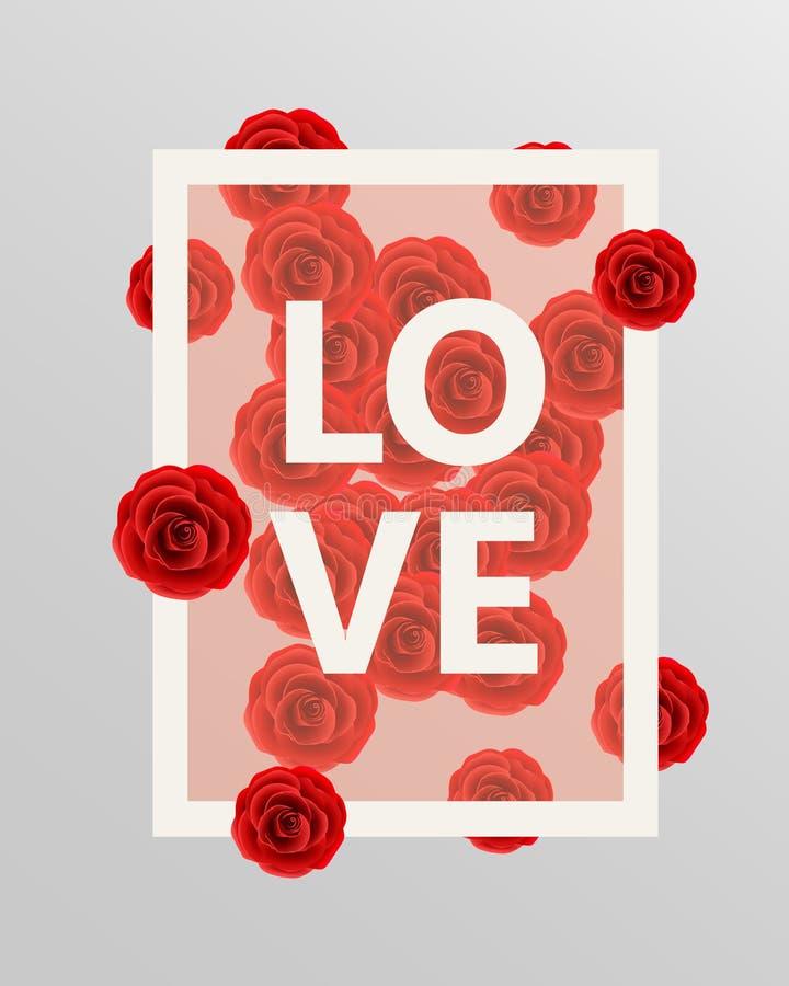 De rode elementen van het rozen bloemenontwerp Vector illustratie stock illustratie