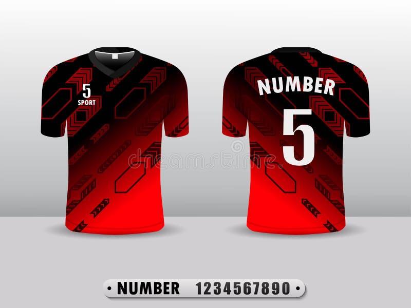 De rode en achterontwerpsjabloon van de de t-shirtsport van de voetbalclub Ge?nspireerd door de samenvatting Voor en achtermening stock illustratie