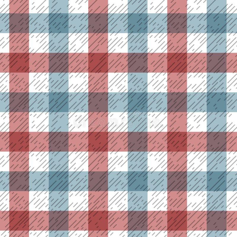 De rode en blauwe stof van de geruit Schots wollen stofplaid op wit naadloos patroon, vector vector illustratie