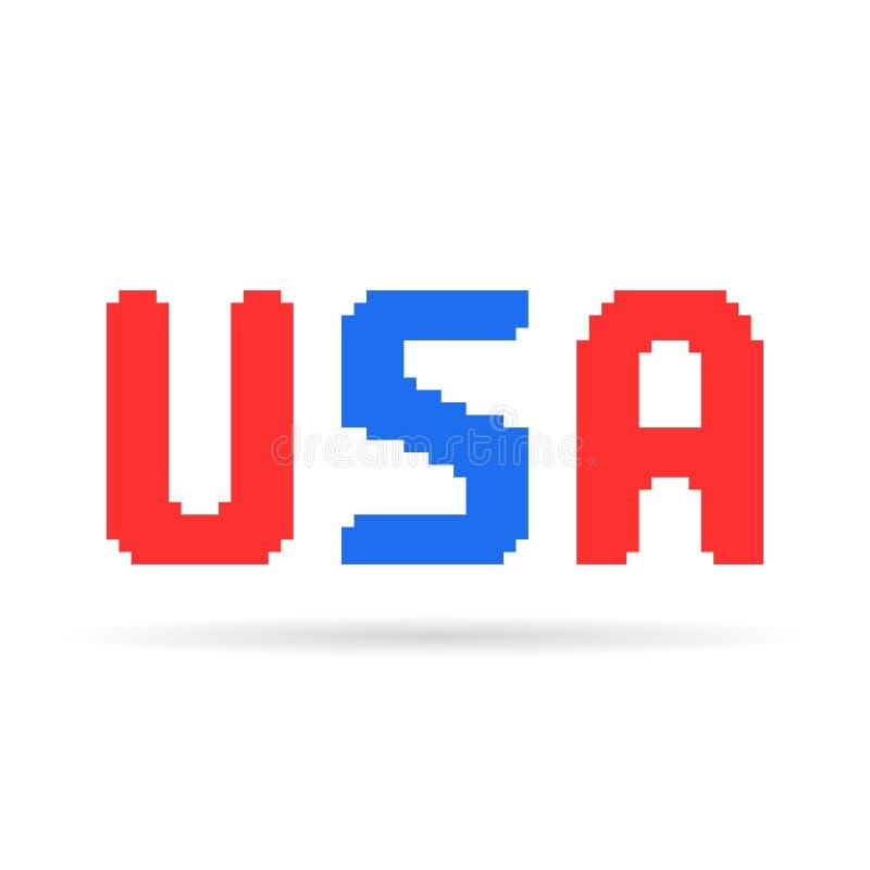 De rode en blauwe tekst van de V.S. van de pixelkunst vector illustratie