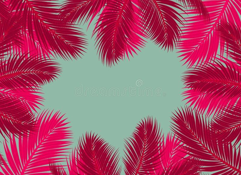 De rode en roze Palmen doorbladert leeg Blauw concept als achtergrond royalty-vrije illustratie