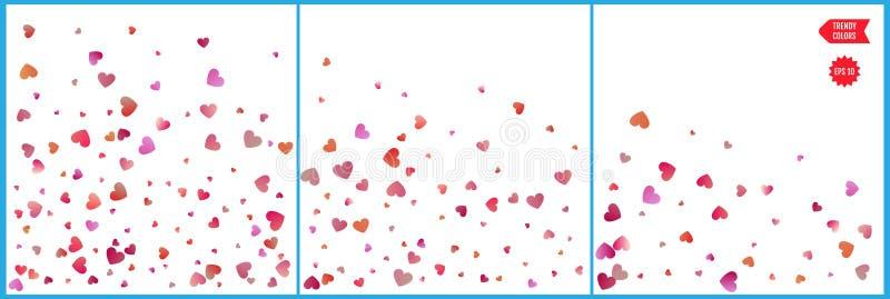 De rode en roze vieringen van hartenconfettien Eenvoudig feestelijk modern ontwerp De vector van de vakantie Reeks 3 in 1 royalty-vrije illustratie