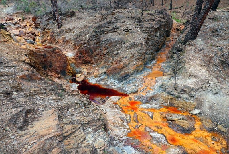 De rode en sinaasappel gekleurde rivier van Rio Tinto dichtbij Nerva in Spanje royalty-vrije stock afbeeldingen