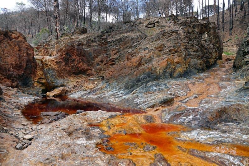De rode en sinaasappel gekleurde rivier van Rio Tinto dichtbij Nerva in Spanje stock foto