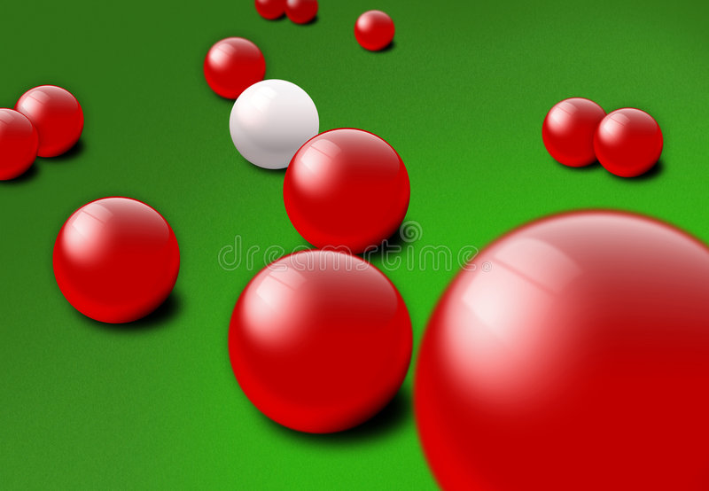 De rode en witte ballen van de Snooker stock illustratie
