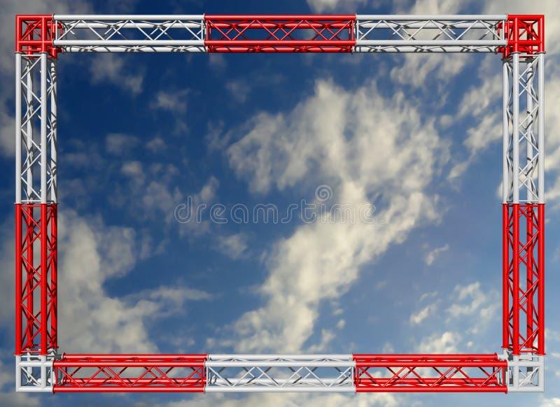 De rode en witte decoratieve grens van de bundelsbouw tegen de hemel stock afbeelding