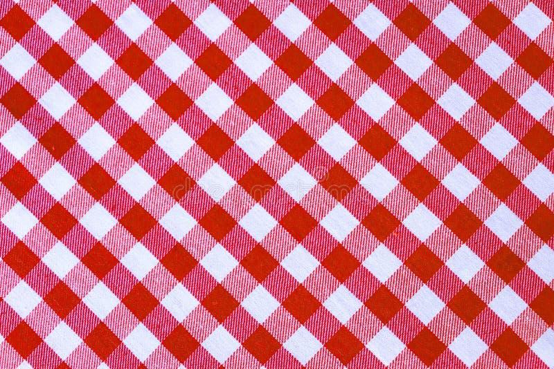 De rode en witte textuur van de plaid textielstof voor abstracte achtergrond royalty-vrije stock fotografie