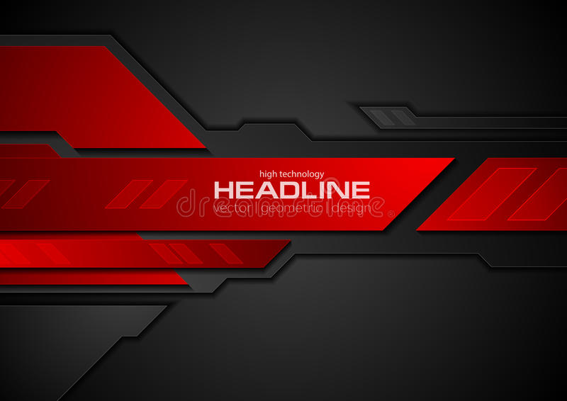 De rode en zwarte achtergrond van de contrast abstracte technologie vector illustratie