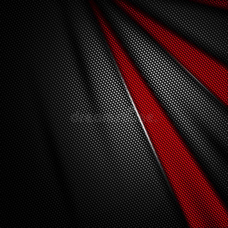 De rode en zwarte achtergrond van de koolstofvezel stock illustratie