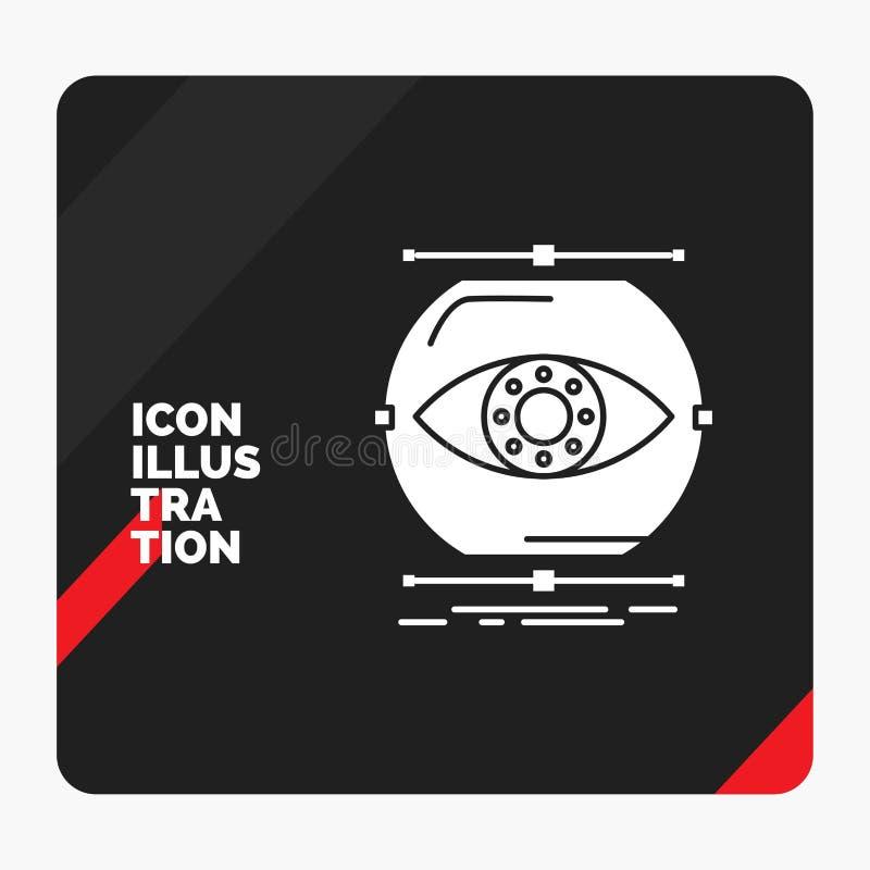 De rode en Zwarte Creatieve presentatieachtergrond voor visualiseert, conceptie, controle, controle, het Pictogram van visieglyph vector illustratie