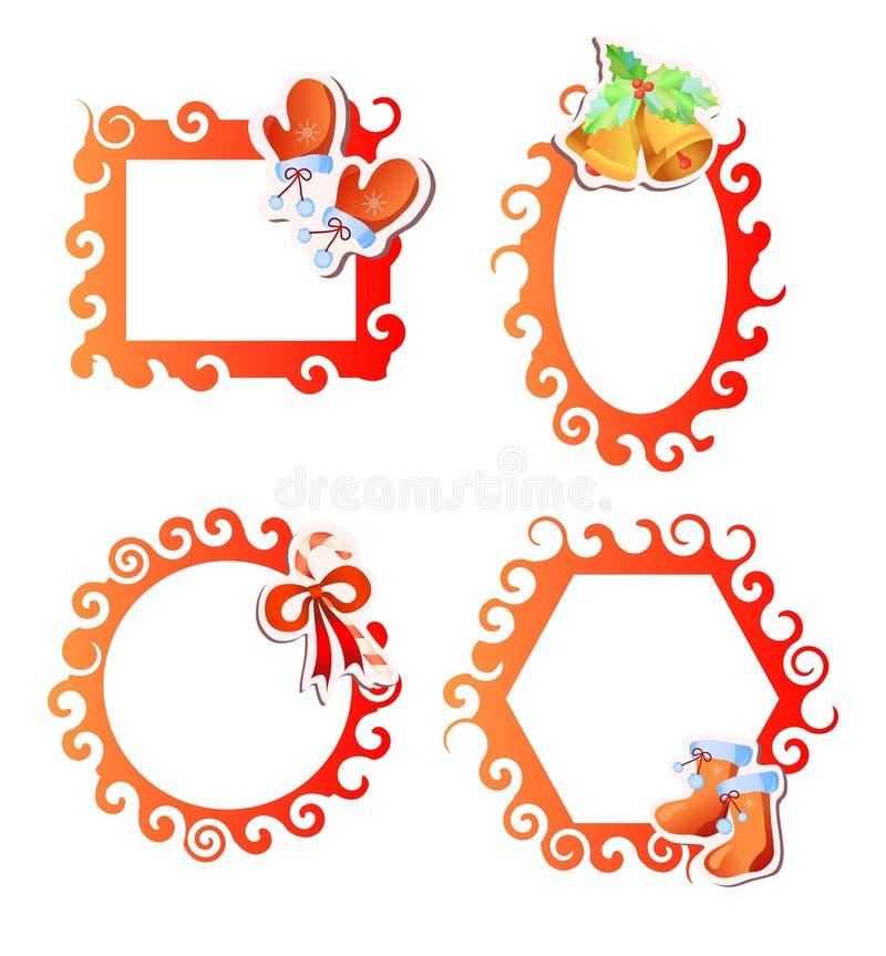 De rode frames van Kerstmis royalty-vrije illustratie