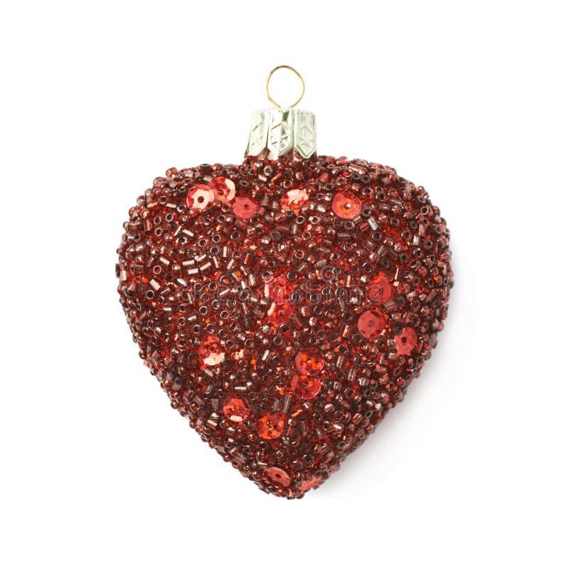 De rode geïsoleerde decoratie van de hartkerstboom stock afbeeldingen