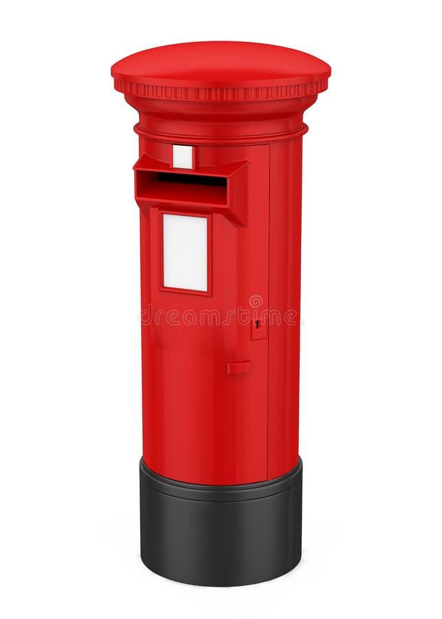 De rode Geïsoleerde Postbus van Engeland stock illustratie